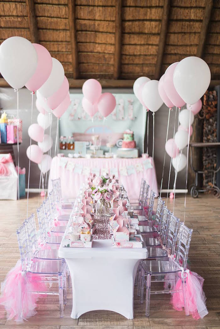 Pink Party Tables from a Girly Vintage Car Birthday Party on Kara's Party Ideas | KarasPartyIdeas.com (24)