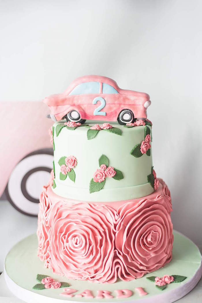 Rose Car Cake from a Girly Vintage Car Birthday Party on Kara's Party Ideas | KarasPartyIdeas.com (23)