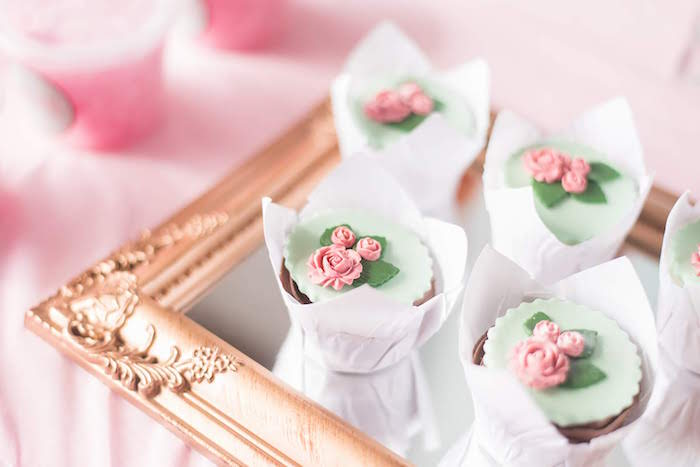 Rose Cupcakes from a Girly Vintage Car Birthday Party on Kara's Party Ideas | KarasPartyIdeas.com (22)