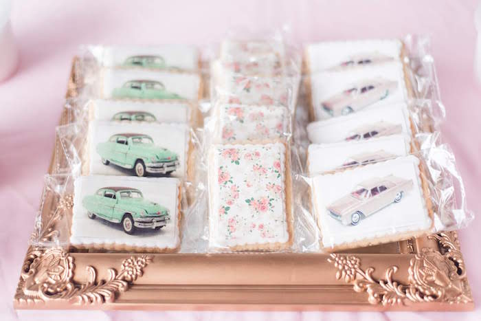 Vintage Car & Rose Cookies from a Girly Vintage Car Birthday Party on Kara's Party Ideas | KarasPartyIdeas.com (21)