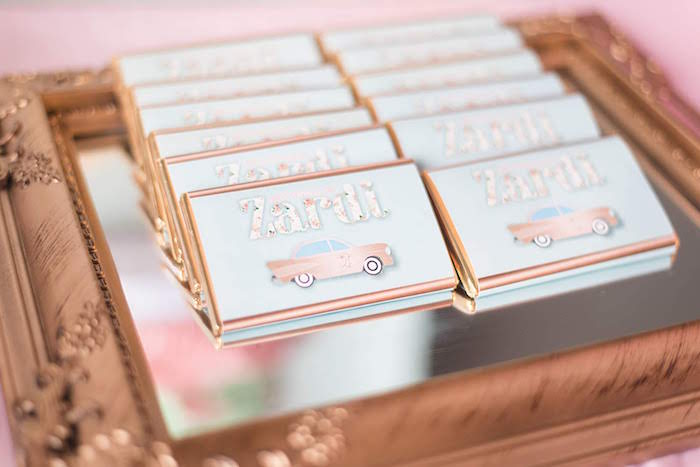 Pink Car Candy Bars from a Girly Vintage Car Birthday Party on Kara's Party Ideas | KarasPartyIdeas.com (19)