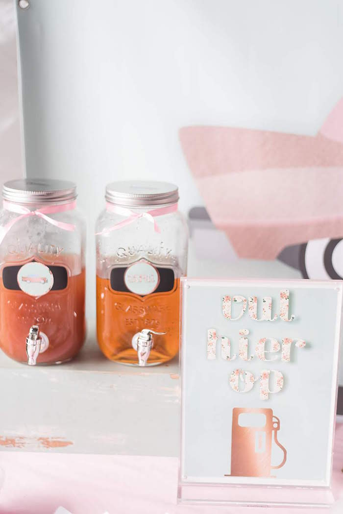 Mason Jar Beverage Dispensers from a Girly Vintage Car Birthday Party on Kara's Party Ideas | KarasPartyIdeas.com (18)