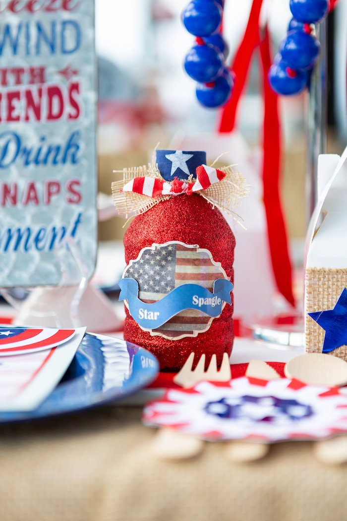 Patriotic Glam Drink Bottle from a Red, White & Blue Patriotic Party on Kara's Party Ideas | KarasPartyIdeas.com