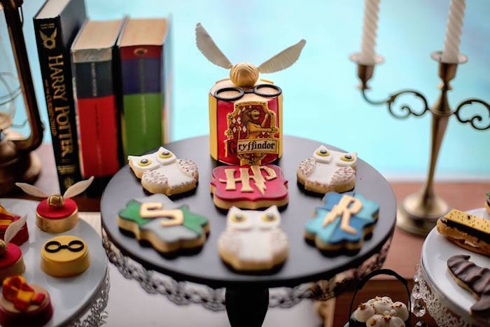 Cake + Cookies from a Harry Potter Birthday Pool Party on Kara's Party Ideas | KarasPartyIdeas.com (5)