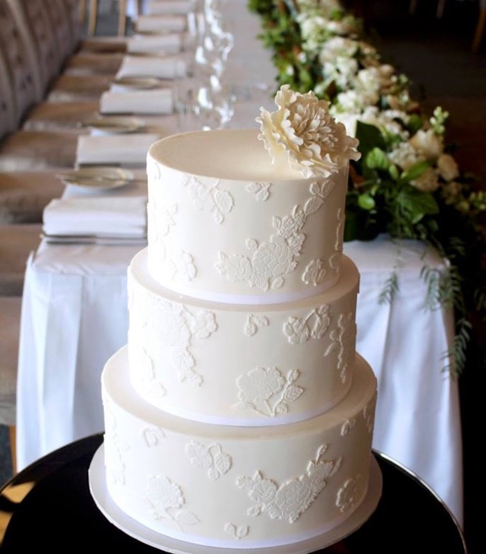 Floral Embossed Cake from a Hindu Wedding on Kara's Party Ideas | KarasPartyIdeas.com (15)