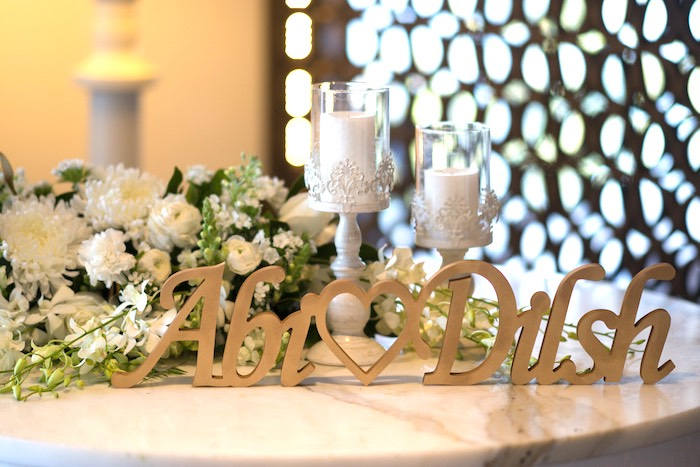 Gold Name Banner + Welcome Table from a Hindu Wedding on Kara's Party Ideas | KarasPartyIdeas.com (19)