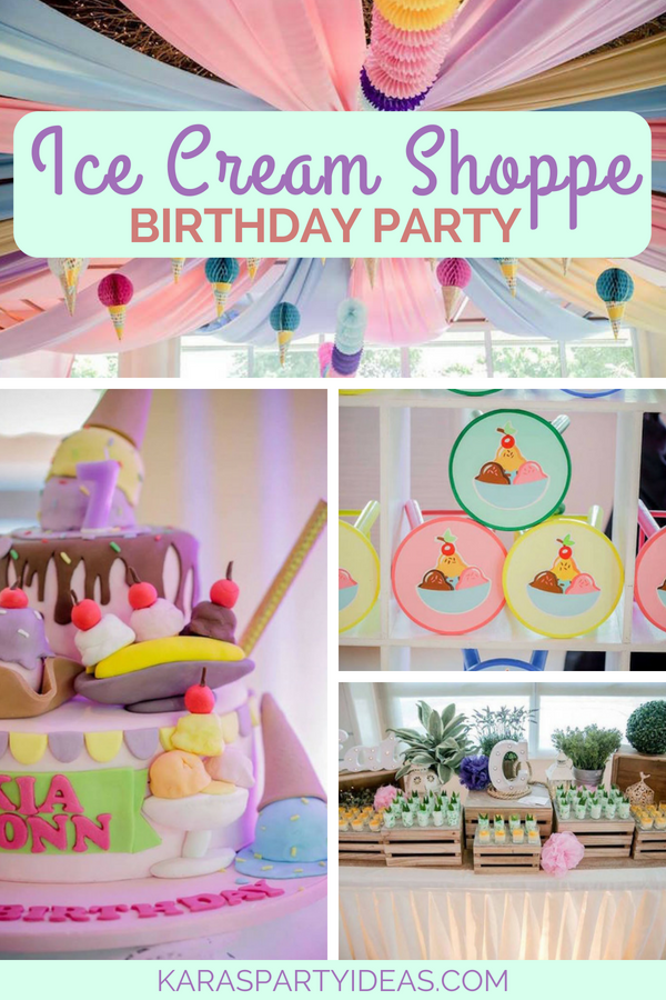 Ice Cream Shoppe Birthday Party via Kara_s Party Ideas - KarasPartyIdeas.com
