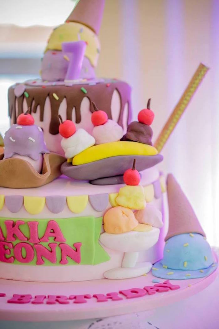Ice Cream-inspired Cake from an Ice Cream Shoppe Birthday Party on Kara's Party Ideas | KarasPartyIdeas.com (24)