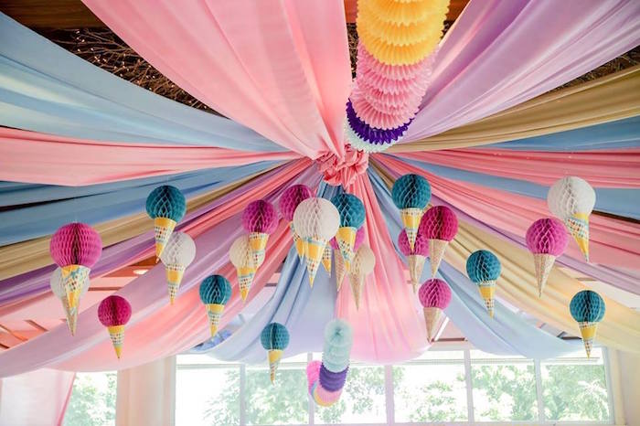 Ice Cream Cone Tissue Ball Ceiling from an Ice Cream Shoppe Birthday Party on Kara's Party Ideas | KarasPartyIdeas.com (23)