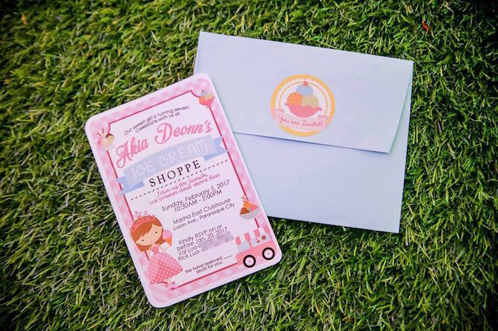 Ice Cream-inspired Party Invite from an Ice Cream Shoppe Birthday Party on Kara's Party Ideas | KarasPartyIdeas.com (21)