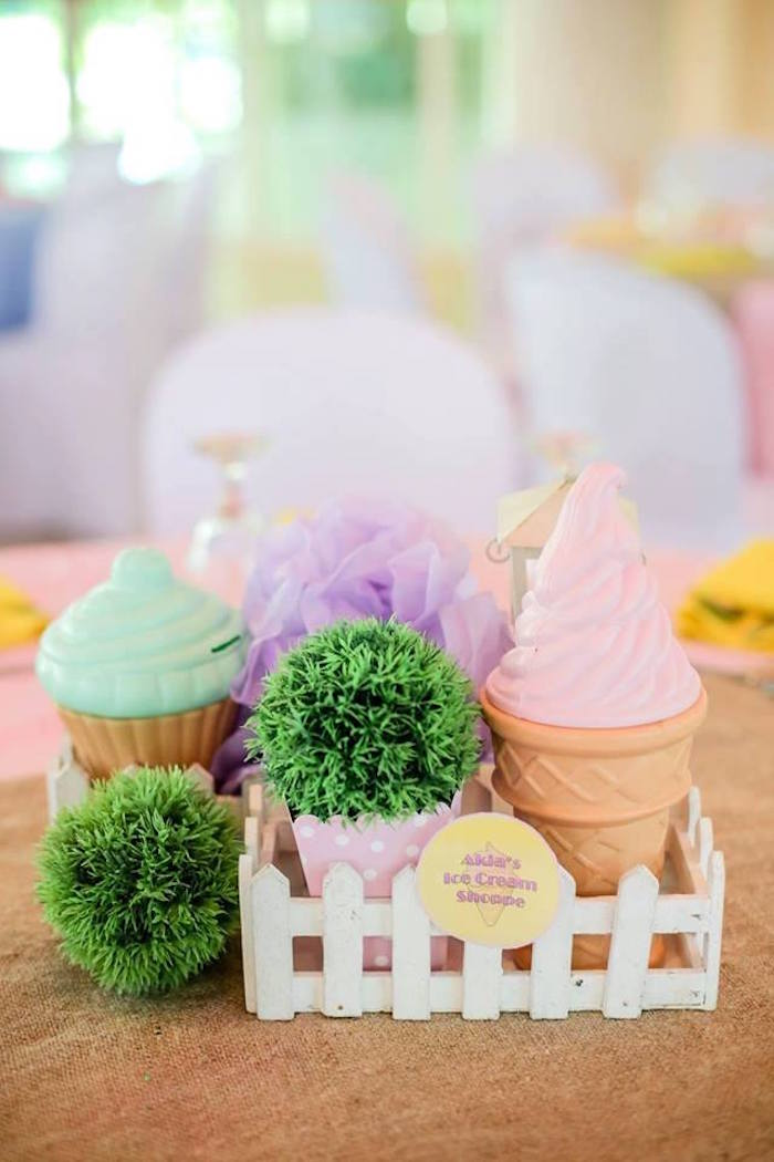 Ice Cream-inspired Table Centerpiece from an Ice Cream Shoppe Birthday Party on Kara's Party Ideas | KarasPartyIdeas.com (20)