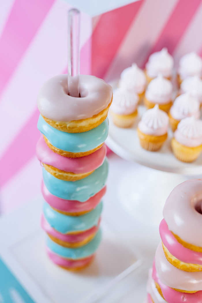 Doughnut Pole Stack from an L.O.L. Surprise Disco Party on Kara's Party Ideas | KarasPartyIdeas.com (12)