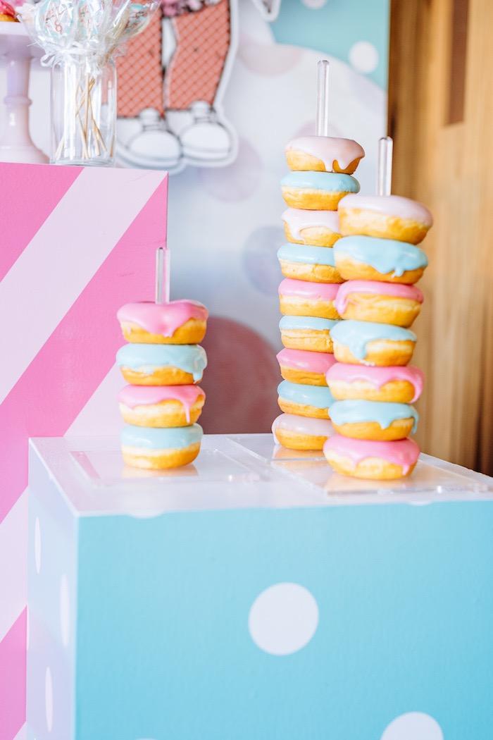 Doughnut Stacks from a L.O.L. Surprise Disco Party on Kara's Party Ideas   KarasPartyIdeas.com (7)