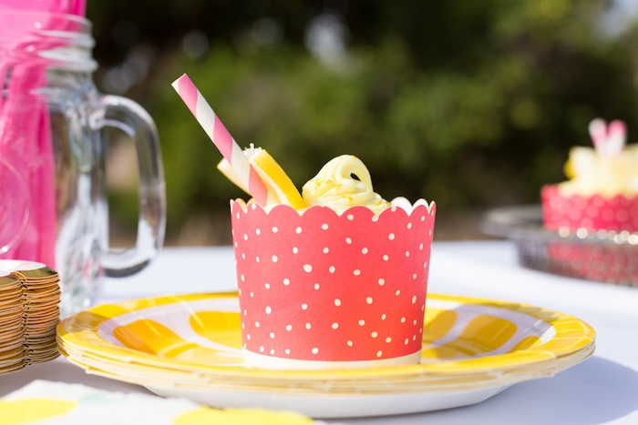 Lemon Cupcake from a Lemonade Stand Birthday Party on Kara's Party Ideas | KarasPartyIdeas.com (18)