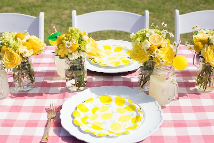 Lemon Themed Table Setting from a Lemonade Stand Birthday Party on Kara's Party Ideas | KarasPartyIdeas.com (16)