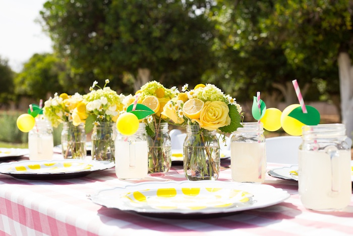Lemon Themed Tablescape from a Lemonade Stand Birthday Party on Kara's Party Ideas | KarasPartyIdeas.com (15)