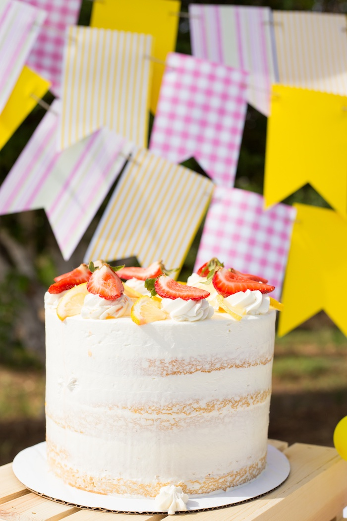 Strawberry Lemon Cake from a Lemonade Stand Birthday Party on Kara's Party Ideas | KarasPartyIdeas.com (13)