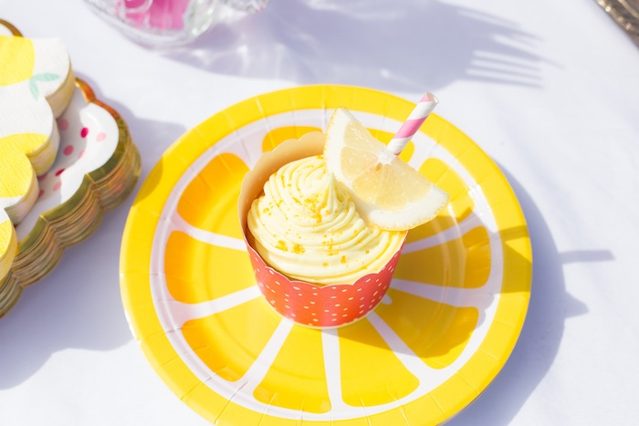 Lemon Plate + Cupcake from a Lemonade Stand Birthday Party on Kara's Party Ideas | KarasPartyIdeas.com (10)