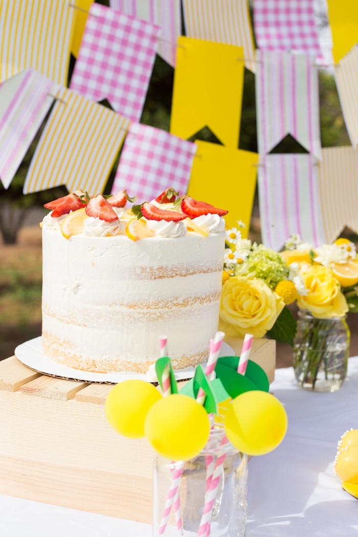 Semi-naked Strawberry Lemon Cake from a Lemonade Stand Birthday Party on Kara's Party Ideas | KarasPartyIdeas.com (8)
