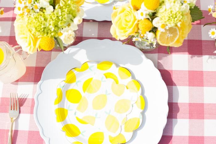 Lemon Themed Table Setting from a Lemonade Stand Birthday Party on Kara's Party Ideas | KarasPartyIdeas.com (26)