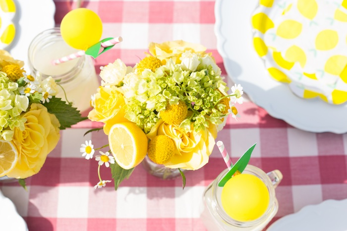 Lemon Themed Blooms from a Lemonade Stand Birthday Party on Kara's Party Ideas | KarasPartyIdeas.com (25)