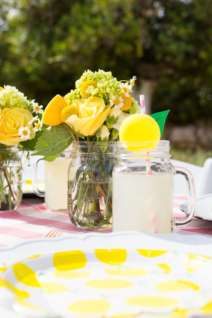 Lemon Themed Mason Jar Drink from a Lemonade Stand Birthday Party on Kara's Party Ideas | KarasPartyIdeas.com (24)