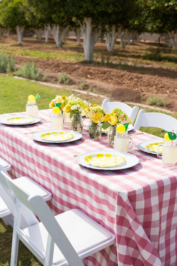 Lemon Themed Guest Table from a Lemonade Stand Birthday Party on Kara's Party Ideas | KarasPartyIdeas.com (23)