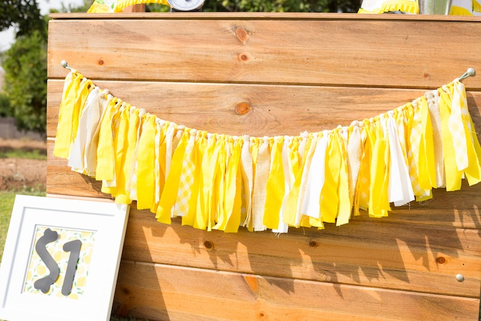 Yellow Fabric Tassel Garland from a Lemonade Stand Birthday Party on Kara's Party Ideas | KarasPartyIdeas.com (20)