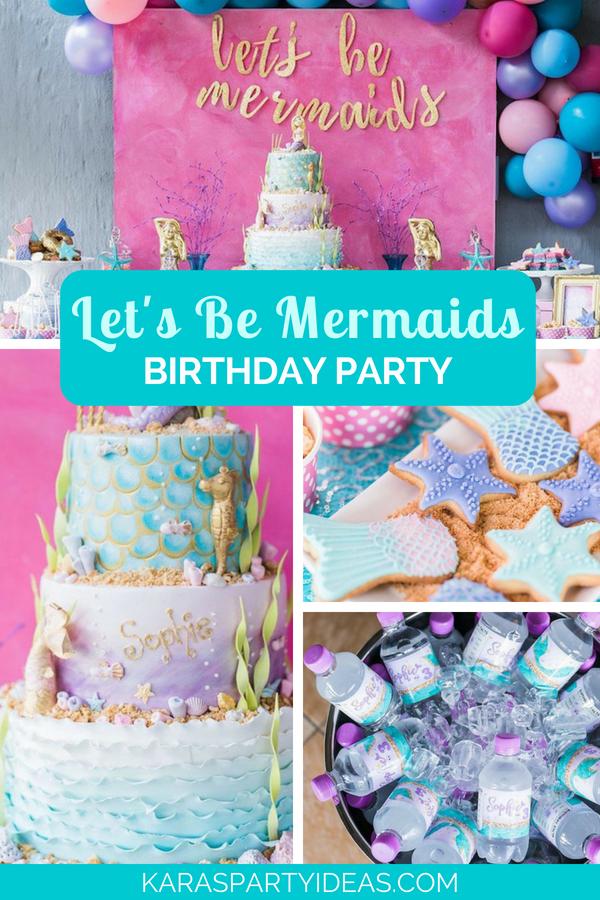 Let's be Mermaids Birthday Party via Kara's Party Ideas - KarasPartyIdeas.com