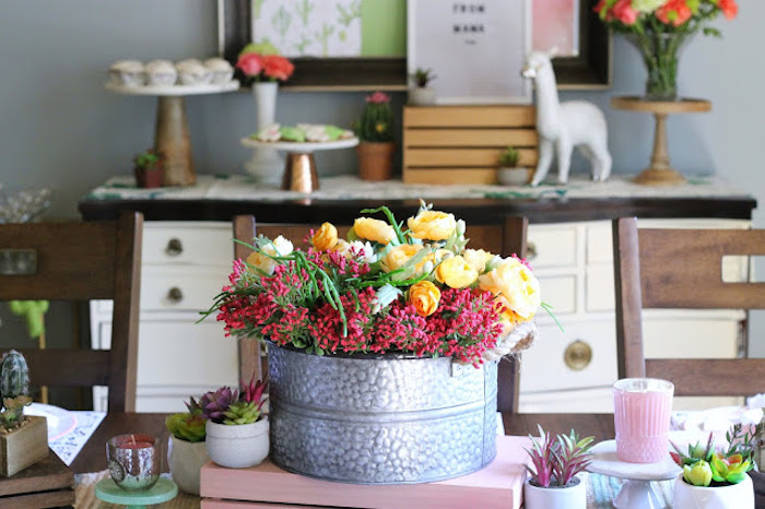 Galvanized Bin Blooms from a Llama & Cactus Birthday Fiesta on Kara's Party Ideas | KarasPartyIdeas.com (16)