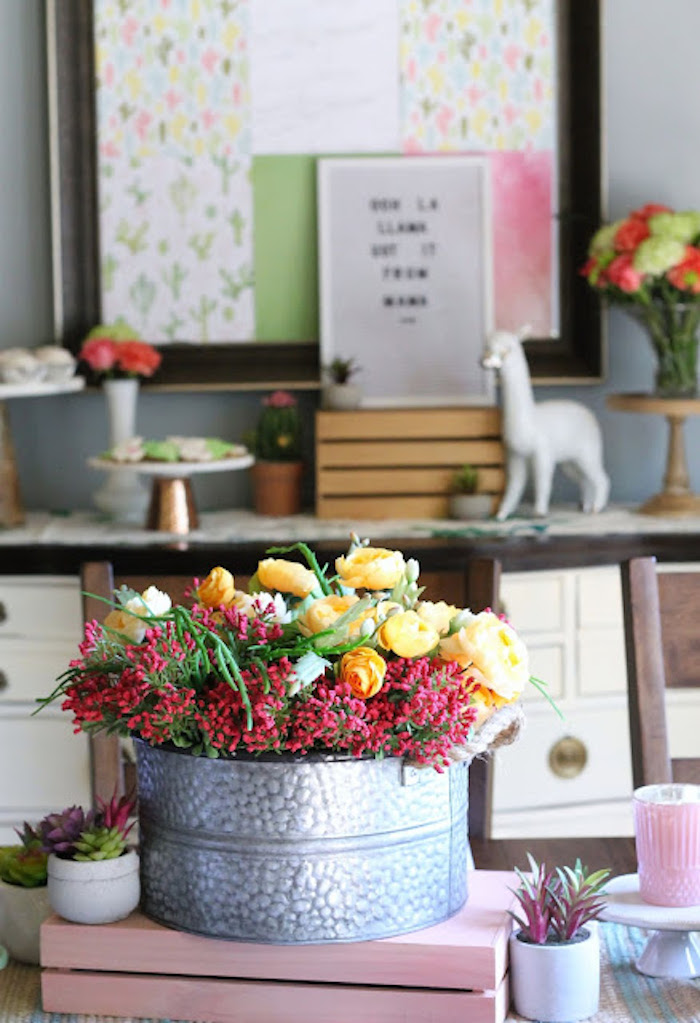 Galvanized Bin Blooms from a Llama & Cactus Birthday Fiesta on Kara's Party Ideas | KarasPartyIdeas.com (15)