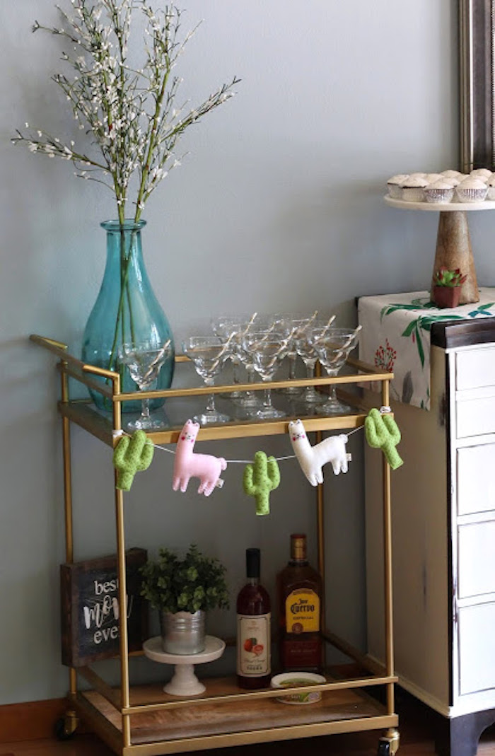 Beverage Cart from a Llama & Cactus Birthday Fiesta on Kara's Party Ideas | KarasPartyIdeas.com (13)