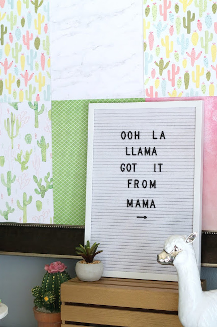 Llama Letter Sign from a Llama & Cactus Birthday Fiesta on Kara's Party Ideas | KarasPartyIdeas.com (22)