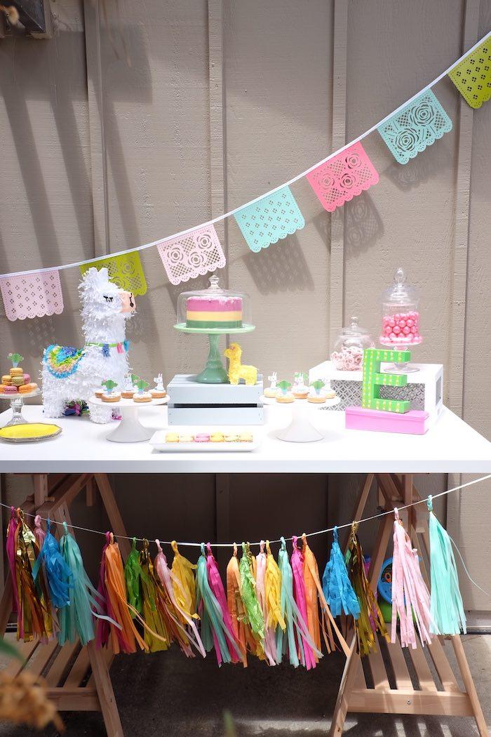 Llama Themed Dessert Table from a Llama & Cactus Birthday Party on Kara's Party Ideas | KarasPartyIdeas.com (18)
