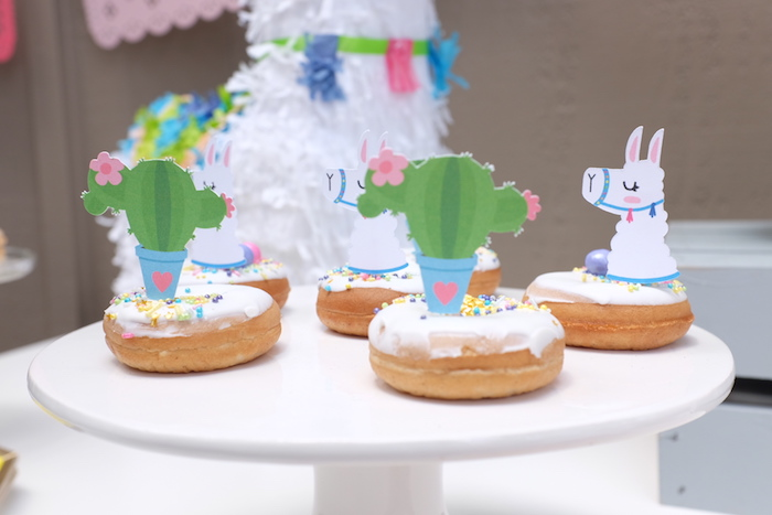 Cactus + Llama Doughnuts from a Llama Cactus Birthday Party on Kara's Party Ideas | KarasPartyIdeas.com (27)