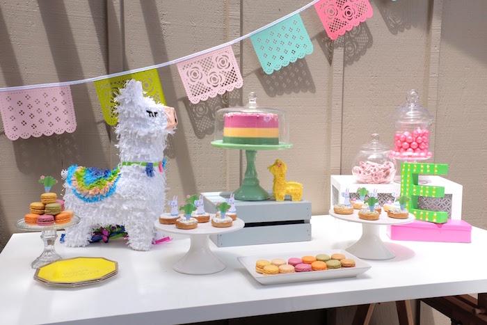Llama Themed Dessert Table from a Llama & Cactus Birthday Party on Kara's Party Ideas | KarasPartyIdeas.com (24)