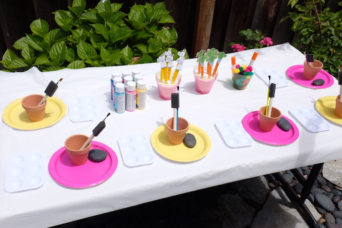 Terra Cotta-painting Activity Table from a Llama & Cactus Birthday Party on Kara's Party Ideas | KarasPartyIdeas.com (23)