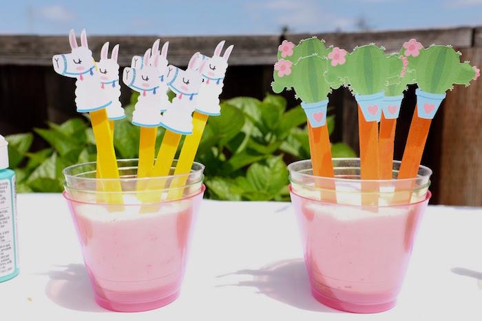 Fiesta Sticks from a Llama & Cactus Birthday Party on Kara's Party Ideas | KarasPartyIdeas.com (22)
