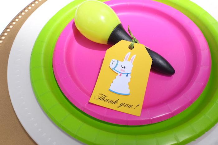 Llama Table Setting Tag from a Llama & Cactus Birthday Party on Kara's Party Ideas | KarasPartyIdeas.com (19)