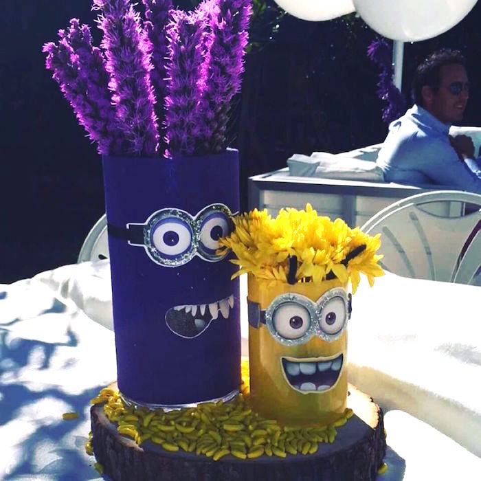 Minion-inspired Table Centerpiece from a Minions Birthday Party on Kara's Party Ideas | KarasPartyIdeas.com (4)