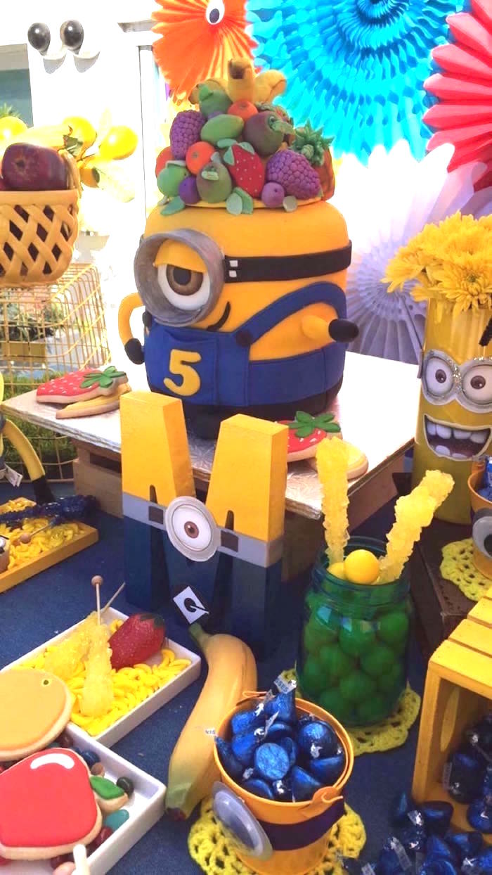 Minion Block Letter + Cake from a Minions Birthday Party on Kara's Party Ideas | KarasPartyIdeas.com (13)