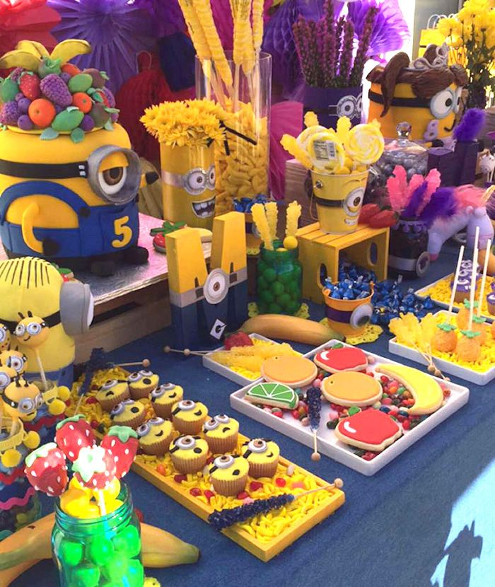 Minion Cupcakes + Fruit Shaped Cookies from a Minions Birthday Party on Kara's Party Ideas | KarasPartyIdeas.com (11)