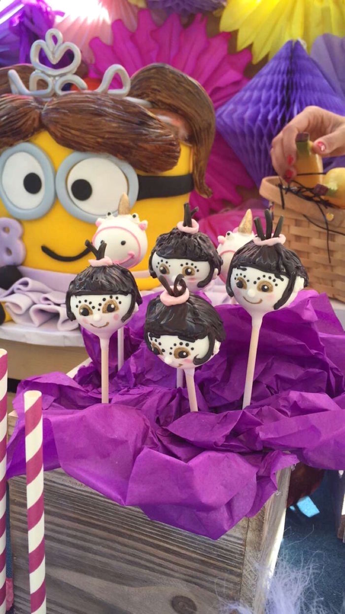 Agnes Cake Pops from a Minions Birthday Party on Kara's Party Ideas | KarasPartyIdeas.com (8)