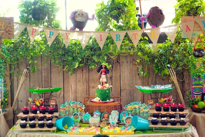 Moana Party Table from a Moana Inspired Birthday Luau on Kara's Party Ideas | KarasPartyIdeas.com (12)