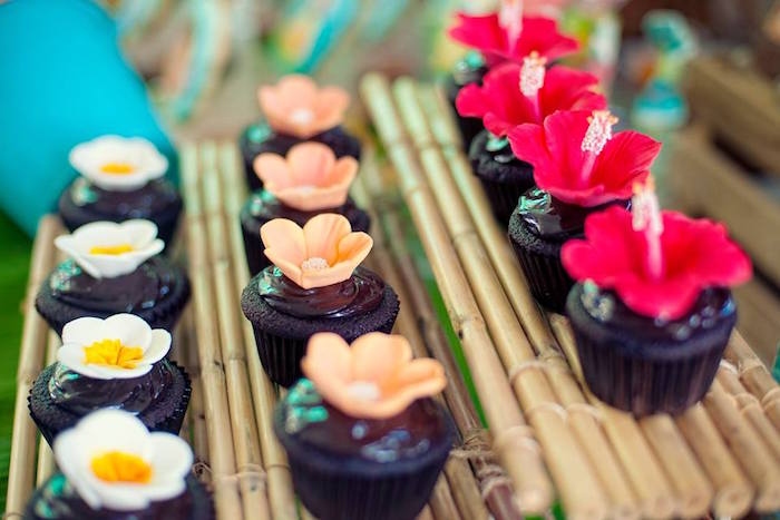 Tropical Flower Cupcakes from a Moana Inspired Birthday Luau on Kara's Party Ideas | KarasPartyIdeas.com (9)