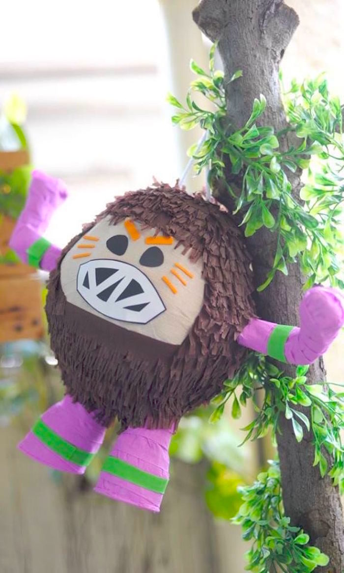 Kakamora Coconut Pinata from a Moana Inspired Birthday Luau on Kara's Party Ideas | KarasPartyIdeas.com (4)
