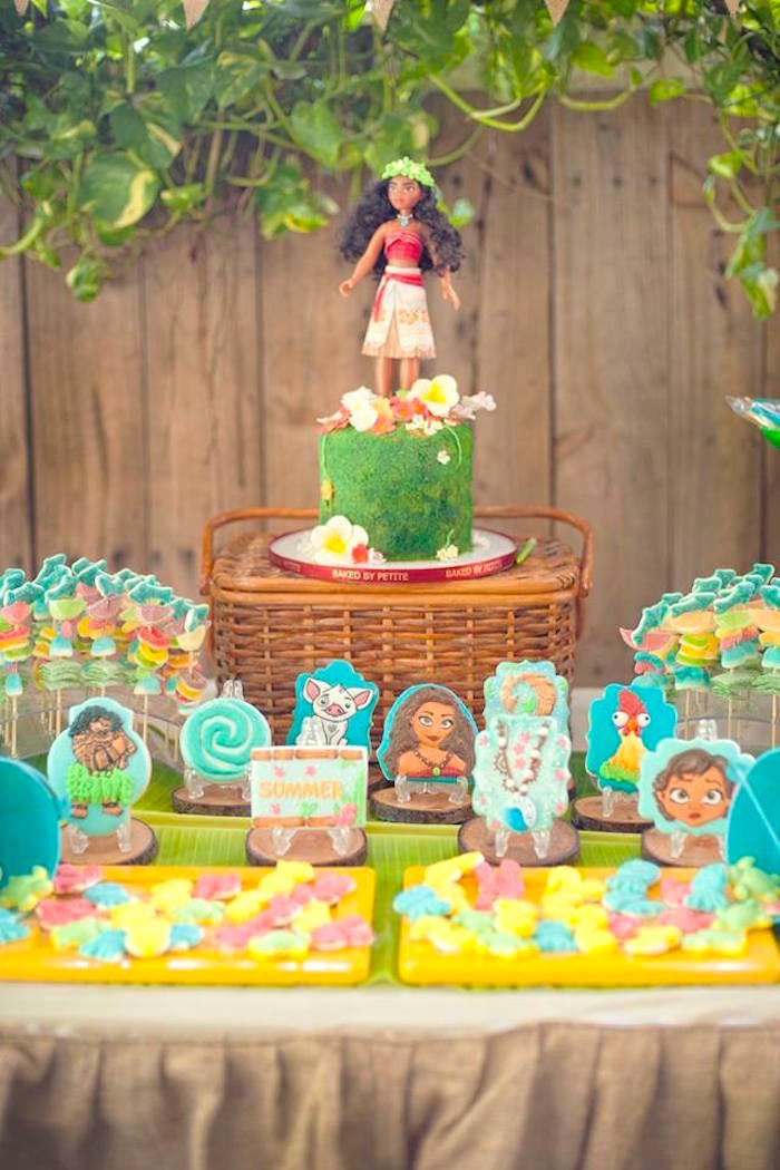 Moana Cake Table from a Moana Inspired Birthday Luau on Kara's Party Ideas | KarasPartyIdeas.com (24)