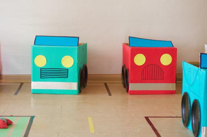 Cardboard Boxcars from a Modern Car Birthday Party on Kara's Party Ideas | KarasPartyIdeas.com (10)