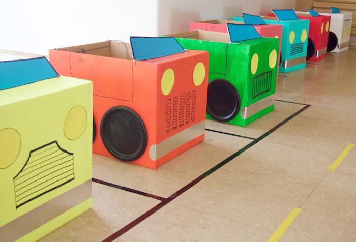 Cardboard Boxcars from a Modern Car Birthday Party on Kara's Party Ideas | KarasPartyIdeas.com (9)