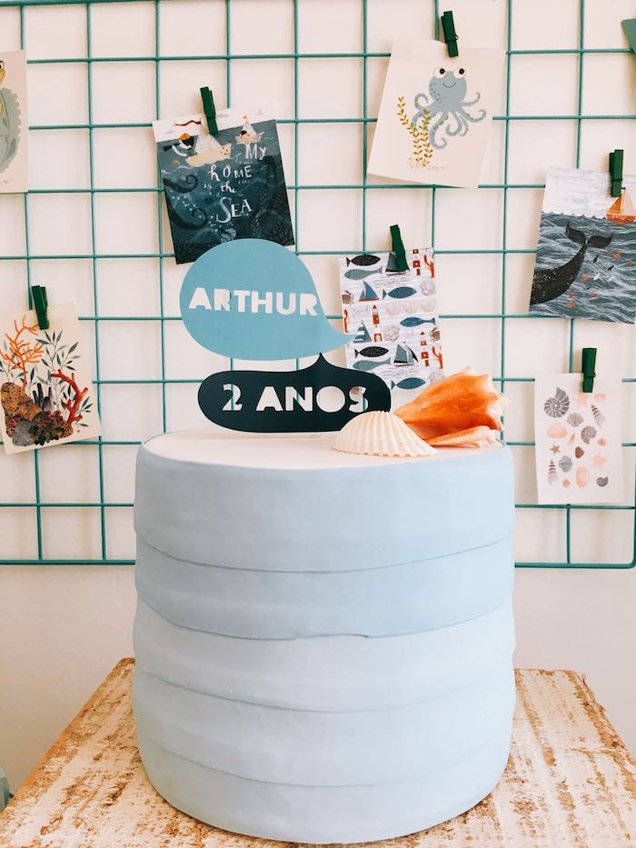 Ocean Watercolor Cake from a Modern Shark + Ocean Party on Kara's Party Ideas | KarasPartyIdeas.com (11)